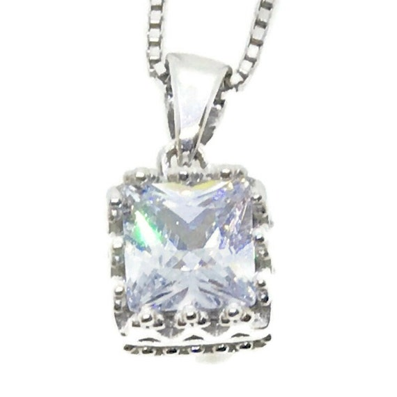 Brand New White Gold on 925 Sterling Silver Pendant Square Princess white CZ with free chain ( 7 . 7 mm )