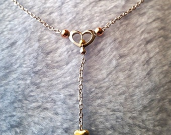 14k Tri Color Rose Yellow White Gold Layer on 925 Silver Heart Y Shape Necklace