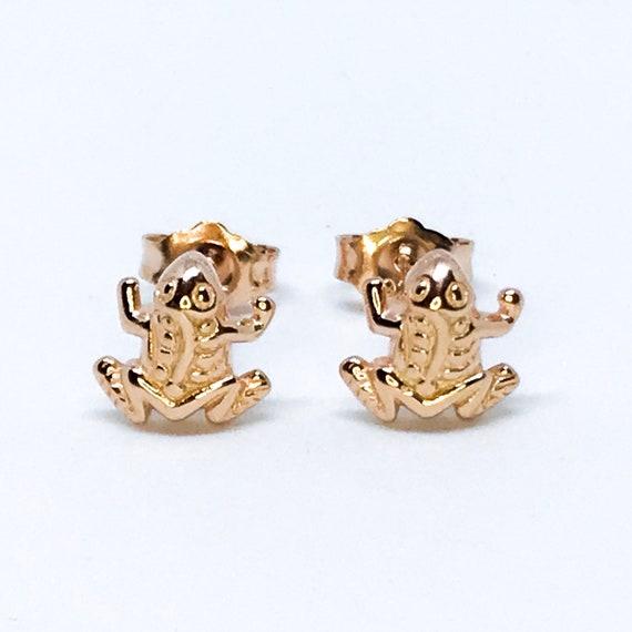 14K Rose Gold on Sterling Silver Frog Earrings