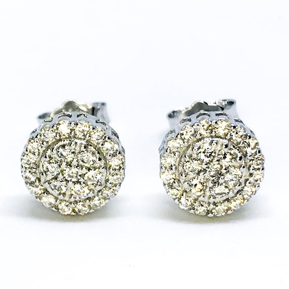 NEW 14K White Gold Layered on Sterling Silver Circular Halo Earrings