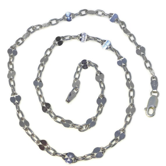 Brand New White Gold on 925 Solid Sterling Silver 18 inch Smooth Oval Rolo Chain Necklace with Lobster Claw Clasp