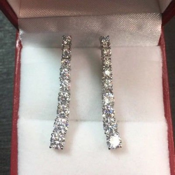 New 3.00ct cz 14k gold on solid silver 1.25 inches straight dangling earring