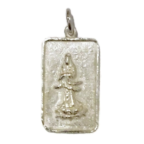 Brand New Anti-tarnish Silver Pendant rectangle shape with quanyin goddess of mercy ( 14 . 2 mm )
