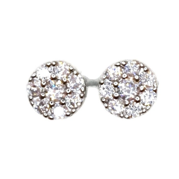 Brand New white gold on 925 Silver Studs Earrings Circle with Seven white round CZ ( 8 . 1 mm )