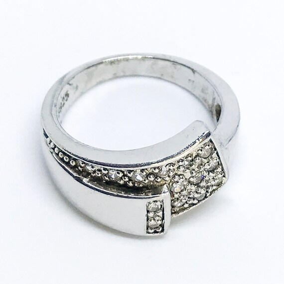 NEW 14K White Gold Layered on Sterling Silver Unique Ring