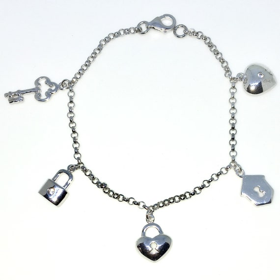 New White Gold Layered 925 Solid Sterling Silver 7 inch Key and Lockets baby Bracelet with Lobsterclaw clasp