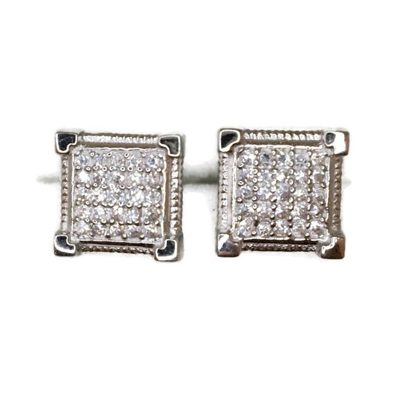 Brand New white gold on 925 Silver Studs Earrings Square with 5x5 white round CZ ( 9 . 4 mm )