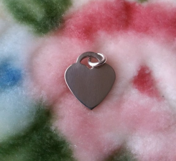 Engravable Flawless Flat Heart Name Plate Solid .925 Anti Tarnish Sterling Silver Pendant