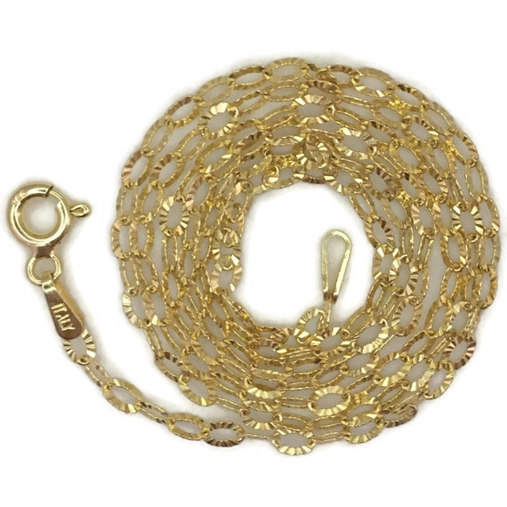 Yellow gold layer on silver necklace hollow oval ring chain 18 inch