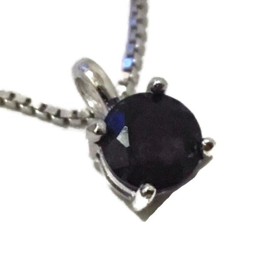 Brand New White Gold on 925 Sterling Silver Pendant 4 prong on black round CZ with free chain ( 5 . 8 mm )