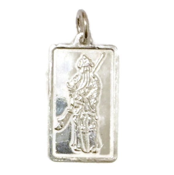 Brand New Anti-tarnish Silver Pendant rectangle shape with Quan Yu and chinese characters ( 14 . 2 mm )