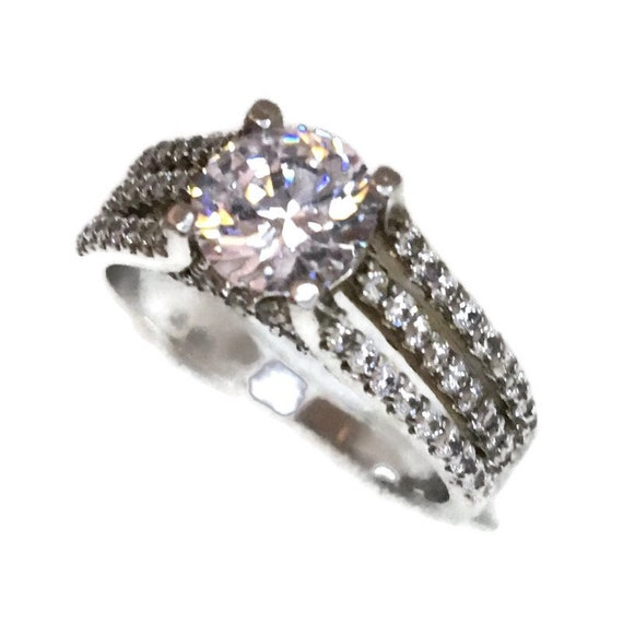 Brand New White Gold on 925 Sterling Silver Ring band triple rows and Four prong basket with Round white CZ ( size 6 )