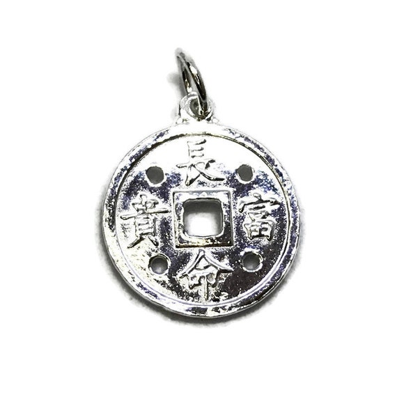 NEW 14K White Gold Layered on .990 Sterling Silver Circle Lucky Chinese Pendant