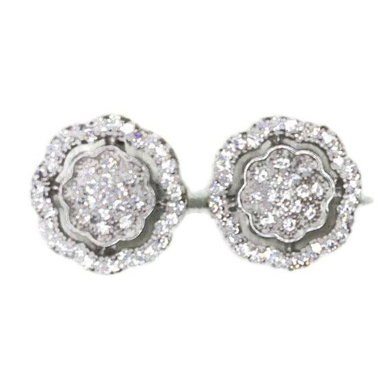 Brand New white gold on 925 Silver Studs Earrings Flower in Hollow Octagon with white round CZ ( 10 . 9 mm )