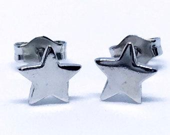 Small Sterling Silver Star Earrings