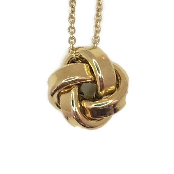 Yellow gold layer on silver necklace quadruple knot pendant 18 inch