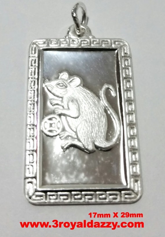Chinese Zodiac Horoscope 999 fine Silver Rectangle Year of Mouse / Rat Pendant charm