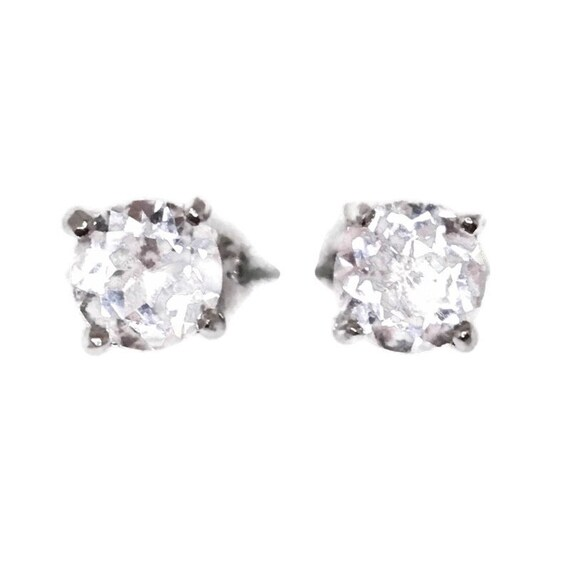Brand New white gold on 925 Silver Studs Earrings Four Prong Basket with white round CZ ( 5 . 9 mm )