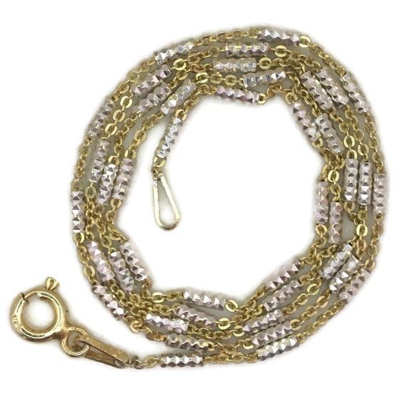 Yellow gold layer on silver necklace thin diamond cut chain 16 inch