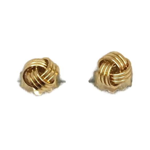 Brand New Yellow gold on 925 Silver Studs Earrings Small 3 layer knot ball ( 5 . 0 mm )