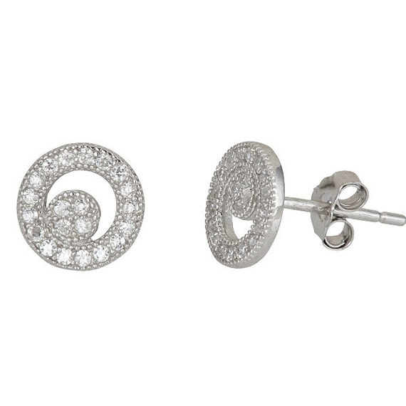 Round cresent style micro pave with CZ .925 Sterling Silver Stud Earrings