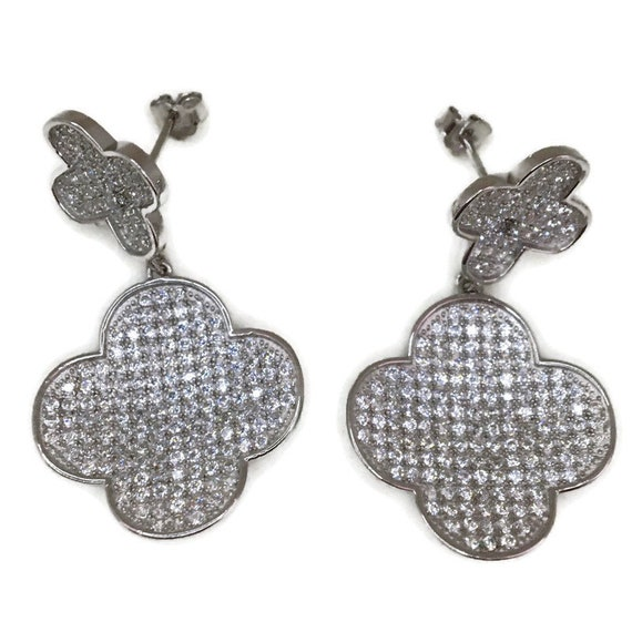 White gold on Silver dangle drop Earrings 4 leaf clover & white CZ