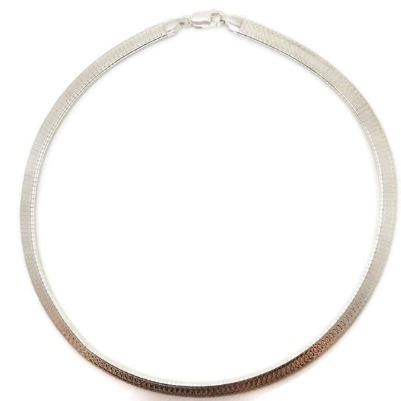 Brand New Anti-Tarnish 925 Sterling Silver Necklace 16 inch One-sided Circle design Omega Chain with Lobsterclaw Clasp ( 6 . 3 mm  )