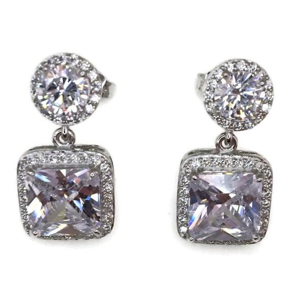 White gold on Silver dangle drop Earrings white round & princess CZ