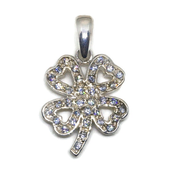 Anti-Tarnish 925 Silver Pendant 4 leaf clover with white round CZ