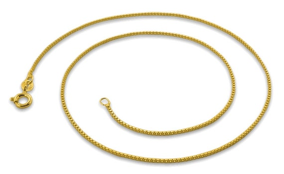 Italian 14k yellow gold layered over .925 sterling silver - 1 mm box chain -16 ""