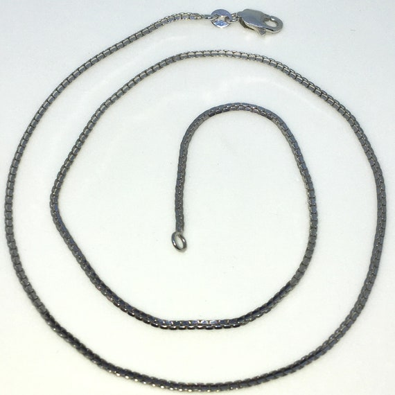 Brand New White Gold on 925 Solid Sterling Silver 16 inch Small Diamond cut Box Chain Necklace with Lobster Claw Clasp