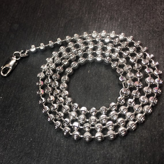 """14k white gold layered over Solid 925 Sterling silver moon cut chain - 3.0mm 20"""""""