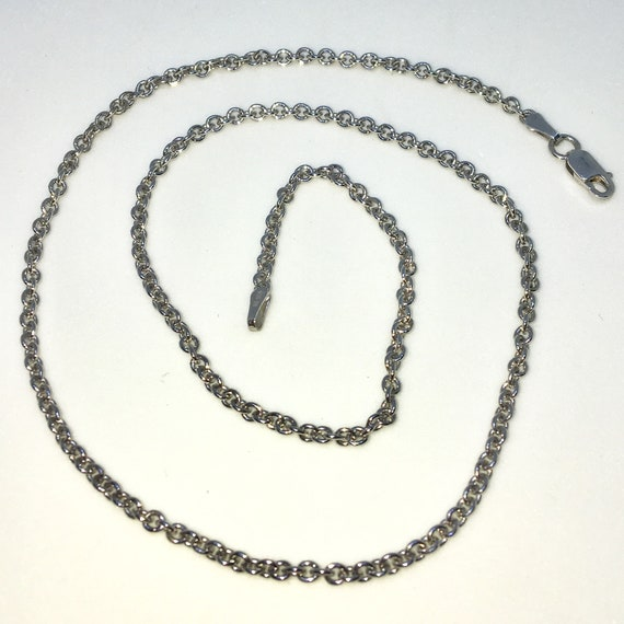 Brand New White Gold on 925 Solid Sterling Silver 16 inch Small Round Rolo Chain Necklace with Lobster Claw Clasp