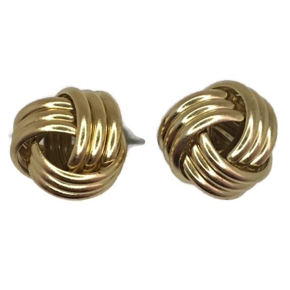 Brand New Yellow gold on 925 Silver Studs Earrings Medium 3 layer knot ball ( 12 . 3 mm )