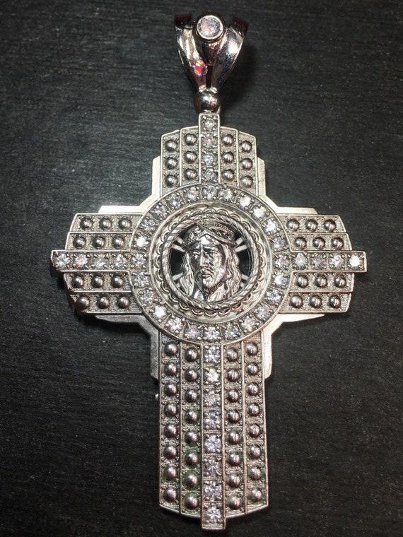 New Huge XXXLarge handset 8ct cz Cross Jesus Face religious charm Bling Bling men pendant