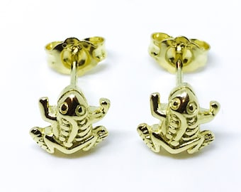 14K yellow gold on sterling silver frog earrings
