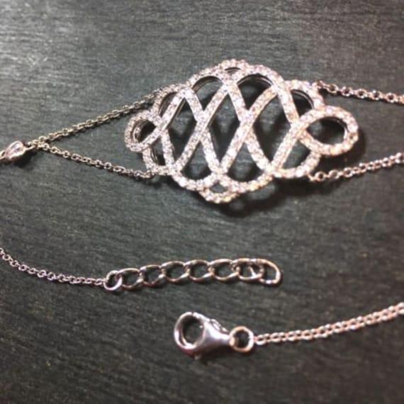"New 14k white gold layer on 925 silver cz twist braid link bracelet 34mm-8"""
