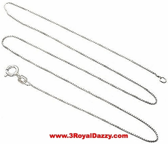 Italian Solid Anti Tarnish .925 sterling silver box link chain - 1 mm 18 ""