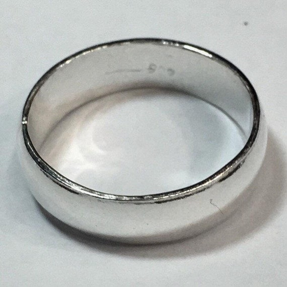 Handmade solid 990 silver high polished glossy plain wedding ring band 5.8mm size 9.5