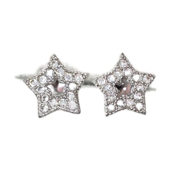 Brand New white gold on 925 Silver Studs Earrings small star with white round CZ ( 7 . 7 mm )
