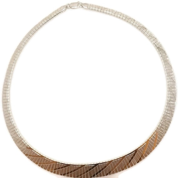 Brand New Anti-Tarnish 925 Sterling Silver Necklace 16 inch Fashion design One-sided Omega Chain with Lobsterclaw Clasp ( 12 . 2 mm  )