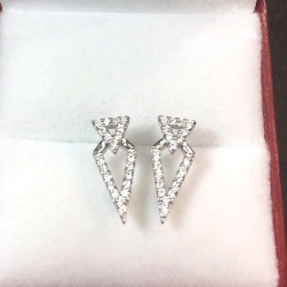 New 0.25ct cz 14k gold on solid 925 silver fancy triangle earring stud post