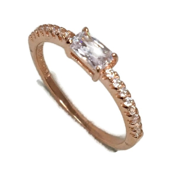 Brand New Rose Gold on 925 Sterling Silver thin Ring Band Emerald White CZ and small round white cz ( size 6 )