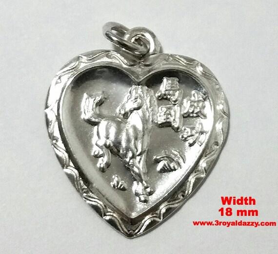 Chinese Zodiac Horoscope 999 fine Silver Year of Horse Heart Pendant charm