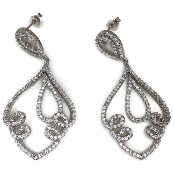 White gold on Silver dangle drop Earrings Artistic & white round CZ