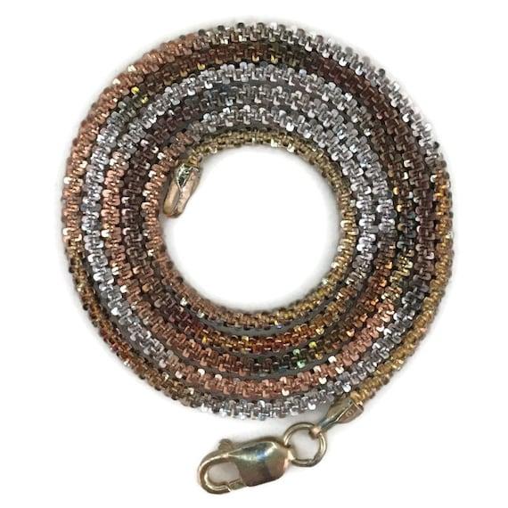 """Three tone gold layer on silver necklace artistic unique chain 16"""""""