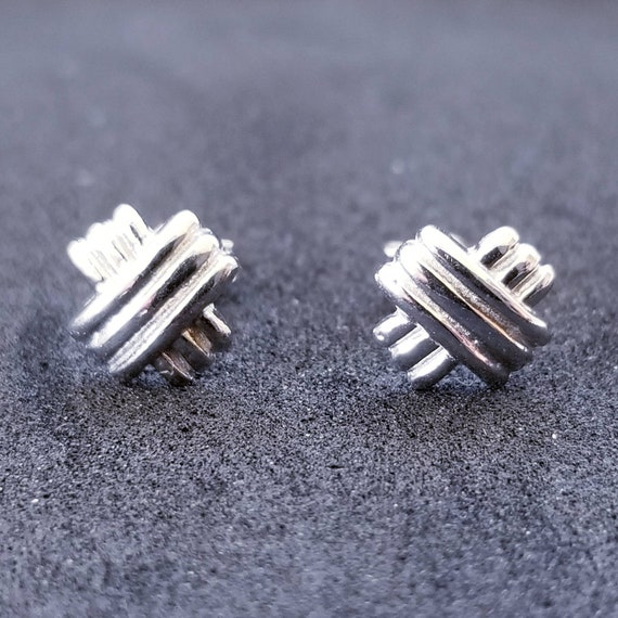 New 14K White Gold on 925 Sterling Silver Small X Stud Earrings