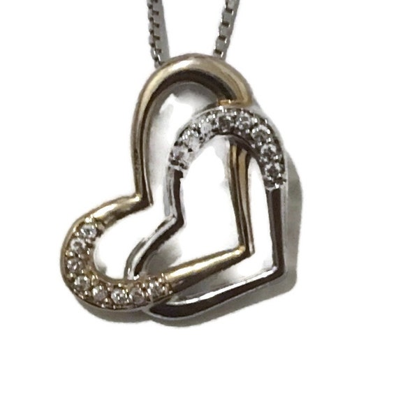 Brand New White Gold on 925 Sterling Silver Pendant double heart and white round CZ with free chain ( 15 . 5 mm )