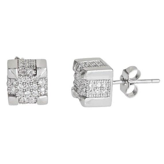 Men Square Bling Micro Pave CZ Stud Earrings