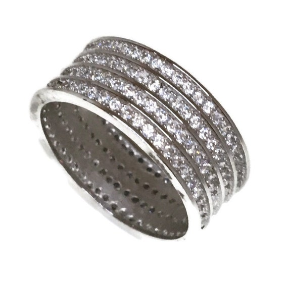 Brand New White Gold on 925 Sterling Silver Eternal Ring Band Four layers of round white CZ ( size 9 )